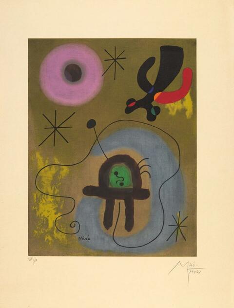 Nach Joan Miró - Mauve de la lune
