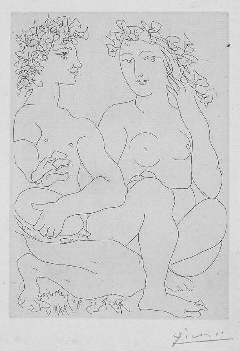 Pablo Picasso - Jeune Bacchus au tambourin avec une bacchante