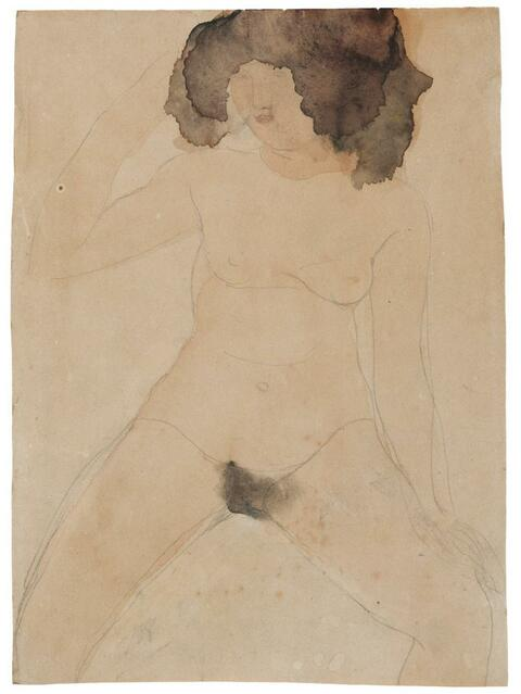 Auguste Rodin - Nu Féminin assis avec chevelure brune