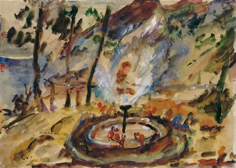 Lovis Corinth - Springbrunnen im Garten am Walchensee