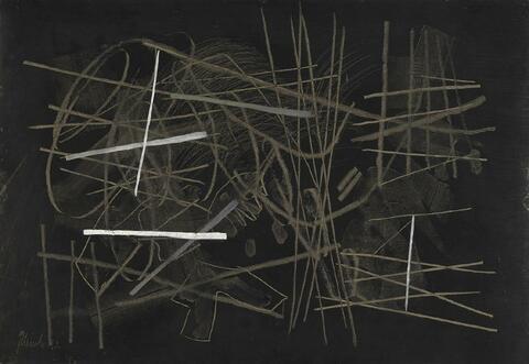 Fritz Winter - Schwarze Composition mit Weiss