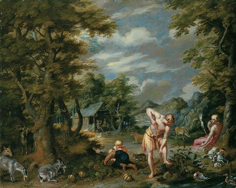 Jan Brueghel d. J. - ADAM BEI DER FELDARBEIT.