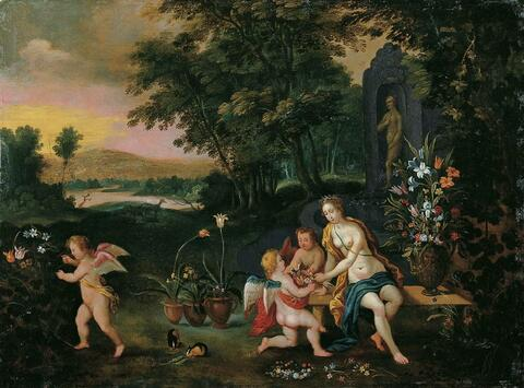 Jan Brueghel d. J. - FLORA MIT PUTTEN IN EINER PARKLANDSCHAFT.