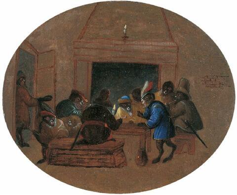Ferdinand van Kessel, zugeschrieben - WIRTSHAUSSZENE MIT AFFEN UND EINER ROBBE (?) UM EINEN TISCH.
