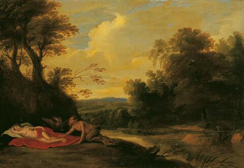 Cornelis van Poelenburgh, Nachfolge - SATYR SICH EINER SCHLAFENDEN NYMPHE NÄHERND.