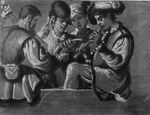 Maestro di San Miniato (?) Florentiner Meister - DREI MUSIKANTEN UND EINE FRAU