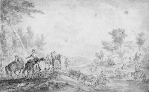 Jean-Baptiste Oudry, zugeschrieben - GROSSE JAGDGESELLSCHAFT BEIM ÜBERQUEREN EINES FLUSSES.