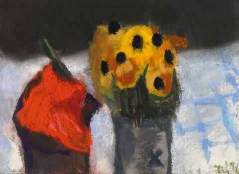 Klaus Fußmann - Ohne Titel (Roter Mohn und gelbe Blüten)