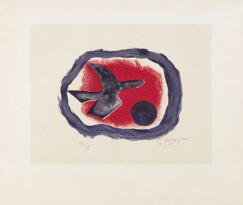 Georges Braque - Oiseau sur fond carmin (Oiseau XIV)
