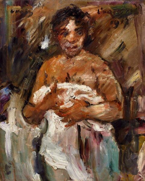 Lovis Corinth - Mädchen, sich entkleidend