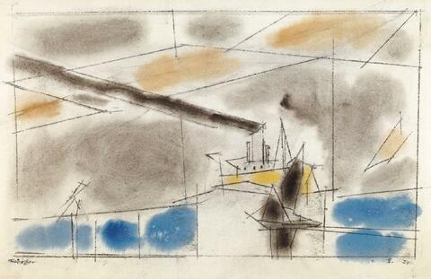 Lyonel Feininger - Ohne Titel (Schiff mit großer Rauchfahne)