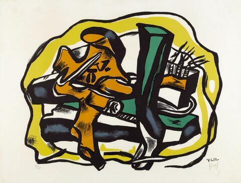 Fernand Léger - Composition sur fond jaune