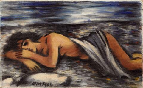 Frans Masereel - Nu couché sur les galets
