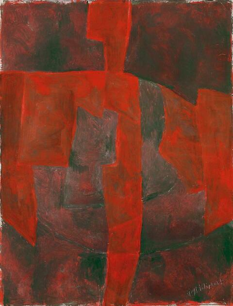 Serge Poliakoff - Composition abstraite (Rouge-Vert)