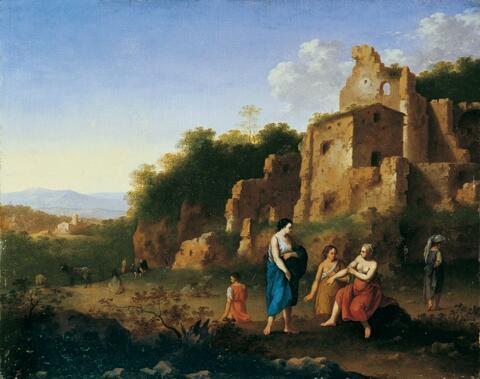 Cornelis van Poelenburgh - RUINENLANDSCHAFT MIT NYMPHEN UND HIRTEN.