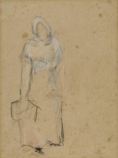 Paul Gauguin - Studie, Frau mit Korb (Verso: Figurenskizzen)
