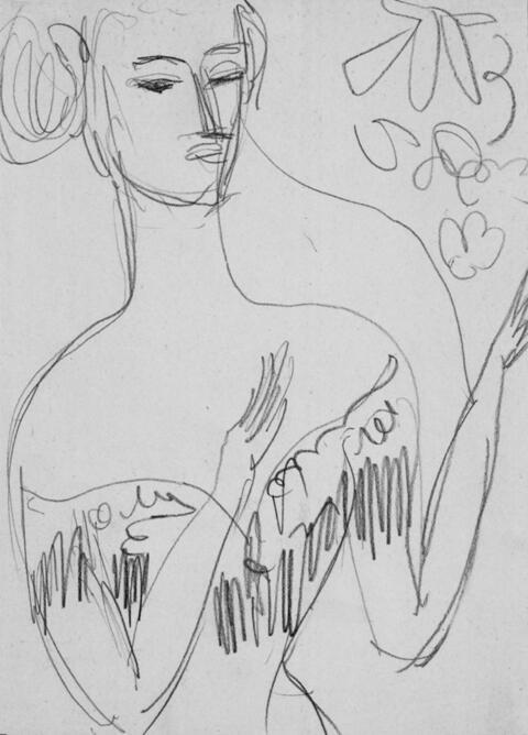 Ernst Ludwig Kirchner - Junge Frau in dekolletiertem Abendkleid
