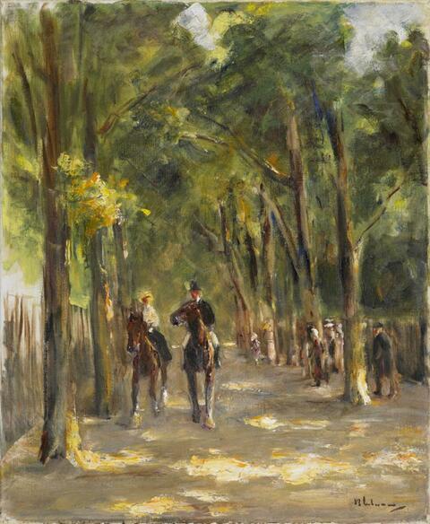 Max Liebermann - Allee mit zwei Reitern, rechts Passanten