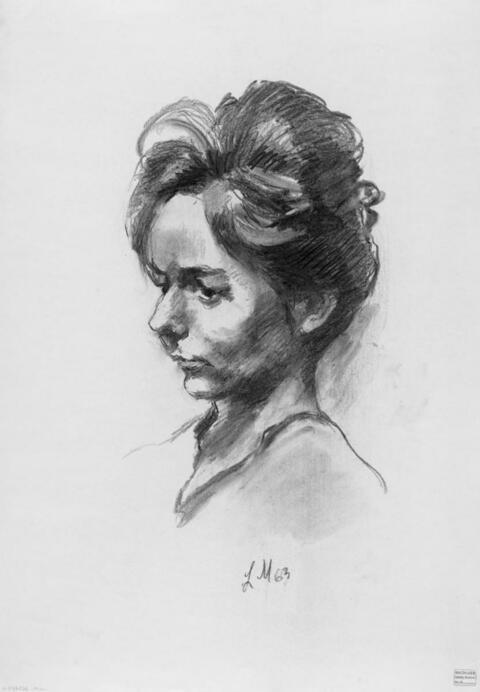 Ludwig Meidner - Weibliches Kopfporträt. Rückseitig Porträt A. Schröder