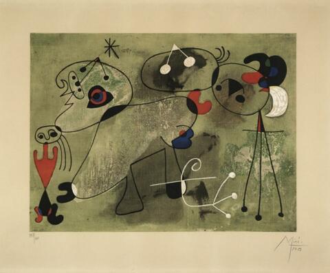 Nach Joan Miró - Composition sur fond vert
