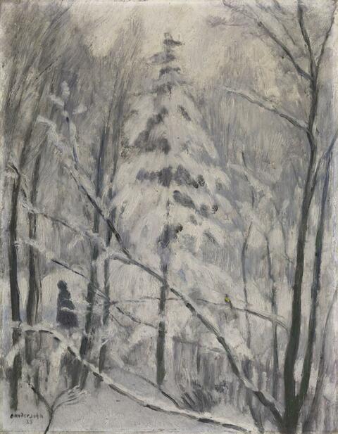 Otto Modersohn - Schneelandschaft (Märchenszene mit Frau und kleinem gelben Vogel)