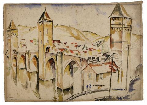 Mela Muter (Maria Melania Mutermilch) - Cahors. Rückseitig: Landschaft bei Cahors