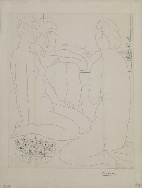 Pablo Picasso - Trois Femmes nues et une coupe d'anémones