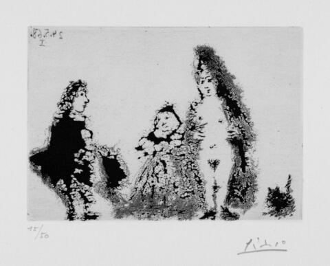 Pablo Picasso - Célestine et Fille, avec un chat et un jeune client
