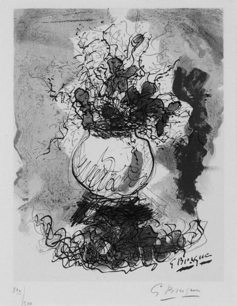 Nach Georges Braque - Bouquet, Fleurs à l'aquarelle.