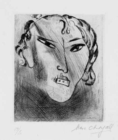 Marc Chagall - Selbstbildnis mit Haus im Gesicht