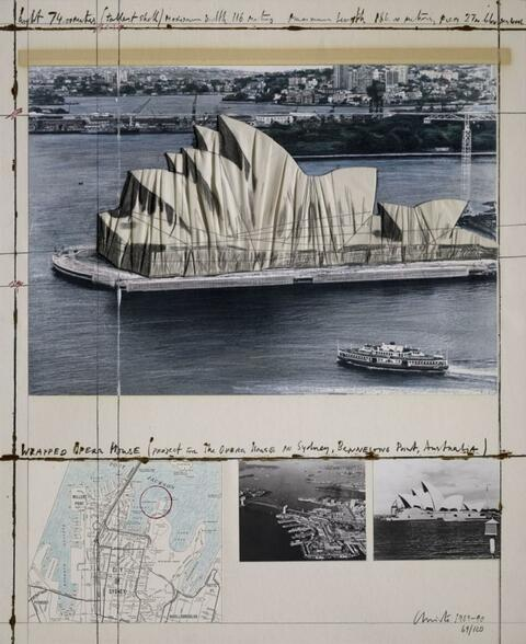 Christo - WRAPPED OPERA HOUSE (PROJECT FOR THE OPERA HOUSE IN SYDNEY, BENNELONG POINT, AUSTRALIA)