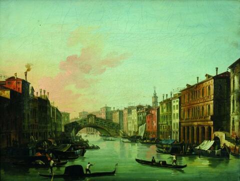 Venezianischer Meister - CANAL GRANDE MIT BLICK AUF DIE RIALTOBRÜCKE VON SÜDEN.