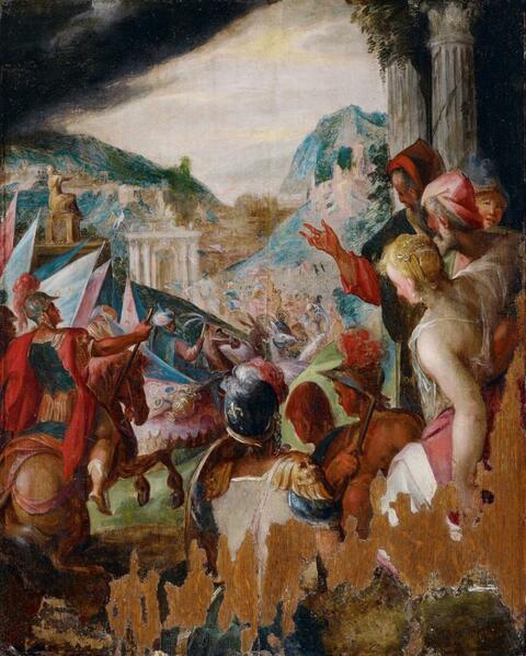 Hans von Aachen, Umkreis - TRIUMPHALER EINZUG SIEGREICHER SOLDATEN IN EINE STADT.