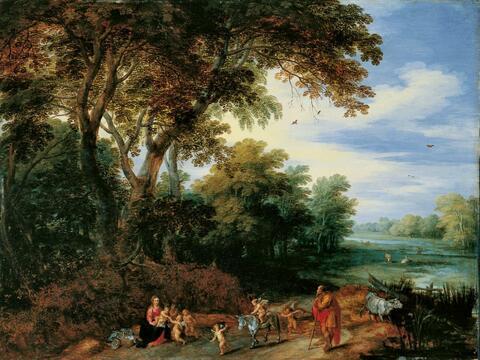 Jan Brueghel d. J. - BAUMLANDSCHAFT MIT RUHE AUF DER FLUCHT.