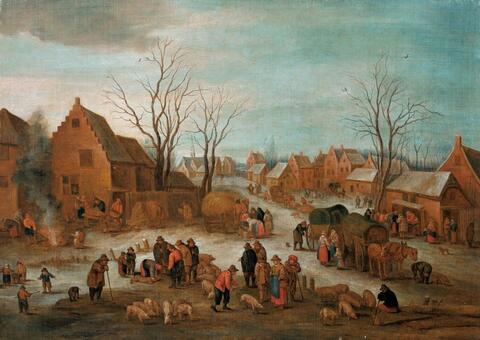 Jan Brueghel d. J., Umkreis - WINTERLICHE DORFLANDSCHAFT MIT EINEM VIEHMARKT.