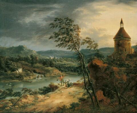 Johann Christian Vollerdt - FLUSSLANDSCHAFT BEI STURM.
