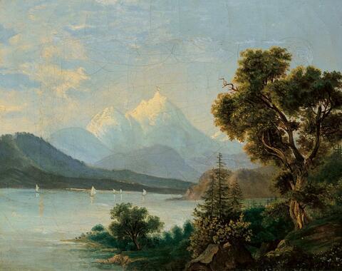 Friedrich Loos - ALPENLANDSCHAFT MIT SEE.