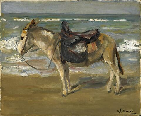 Max Liebermann - Reitesel am Strand nach links
