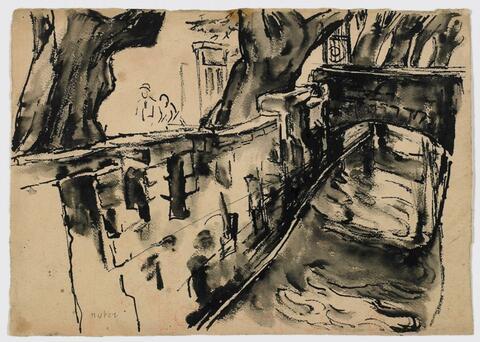 Mela Muter (Maria Melania Mutermilch) - Städtisches Flussufer. Rückseitig: Baumstudie