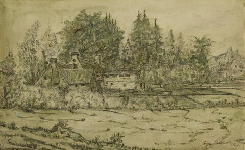 Franz Radziwill - Dorfansicht mit Bäumen