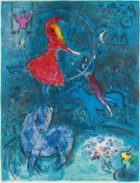 Marc Chagall - Kunstreiterin auf blauem Pferd