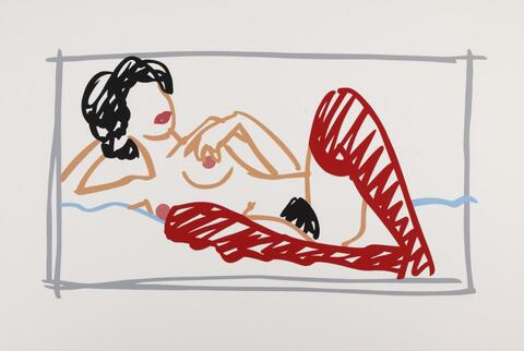 Tom Wesselmann - Fast Sketch with Red Stockings Nude