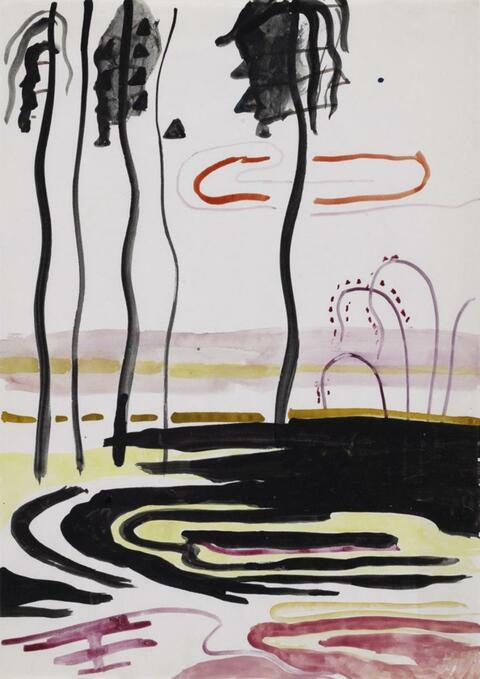 Sigmar Polke - Ohne Titel (Landschaft mit schwarzen Palmen)
