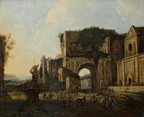 Italienischer Meister des 17. Jahrhunderts - LANDSCHAFT MIT ARCHITEKTURCAPRICCIO