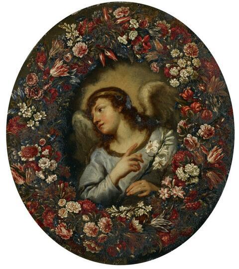 Italienischer Meister des 17. Jahrhunderts - PAAR BLUMENGIRLANDEN MIT MARIA UND DEM VERKÜNDIGUNGSENGEL