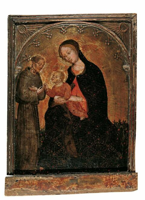 Ottaviano Nelli, attributed to - MADONNA WITH CHILD AND SAINT FRANCIS