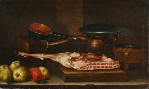 Spanish School, 17th century - STILL LIFE WITH A JOINT OF MEET, FRUITS AND JARS