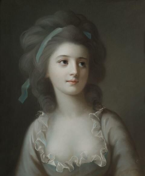 French School, late 18th century - PORTRAIT OF A YOUNG LADY