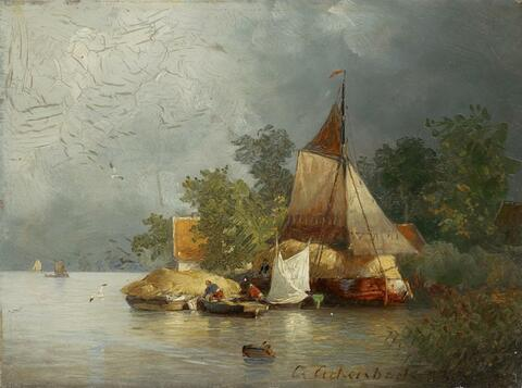 Andreas Achenbach - RIVER LANDSCAPE WITH BARGES