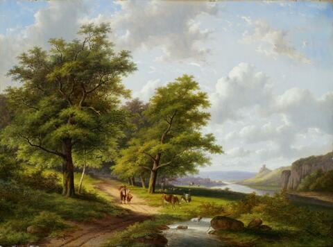 Jan Evert II Morel - LANDSCAPE AT THE RIVER MAAS